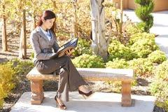 Donna di affari che cattura le note Fotografie Stock Libere da Diritti
