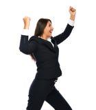 Donna di affari che celebra i suoi succes fotografie stock libere da diritti