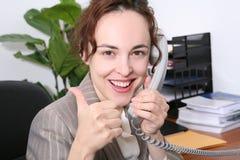 Donna di affari che celebra successo Immagini Stock Libere da Diritti