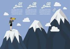Donna di affari che cerca il picco di montagna infographic Immagine Stock Libera da Diritti