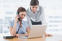 Donna di affari che chiama e che esamina computer portatile con il collega Fotografia Stock