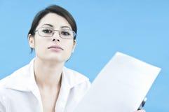 Donna di affari che comunica Immagine Stock