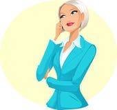 Donna di affari che comunica per telefono Fotografia Stock Libera da Diritti