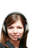 Donna di affari che comunica sulla cuffia avricolare Fotografia Stock Libera da Diritti
