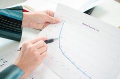 Donna di affari che controlla una curva finanziaria Fotografia Stock Libera da Diritti
