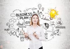Donna di affari che crea business plan Fotografie Stock