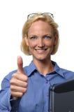 Donna di affari che dà il pollice Immagine Stock