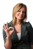 Donna di affari che dà il segno GIUSTO Immagine Stock Libera da Diritti