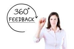 Donna di affari che disegna un concetto di risposte di 360 gradi sullo schermo virtuale Isolato su bianco Fotografia Stock