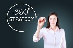 Donna di affari che disegna un concetto di strategia di 360 gradi sullo schermo virtuale Priorità bassa per una scheda dell'invit Immagine Stock