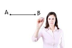 Donna di affari che disegna un il più breve modo muoversi da punto A per indicare B Immagini Stock Libere da Diritti