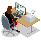 Donna di affari che esamina lo schermo del computer portatile Donna di affari sul lavoro Donna che lavora al computer Ordine dall Fotografie Stock