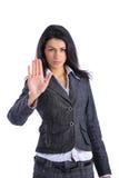 Donna di affari che fa il fanale di arresto fotografia stock libera da diritti