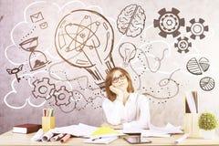 Donna di affari che genera le idee creative Fotografia Stock