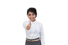 Donna di affari che gesturing i pollici su Immagine Stock Libera da Diritti