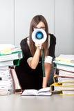 Donna di affari che grida con un megafono immagini stock libere da diritti