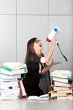 Donna di affari che grida con un megafono fotografia stock