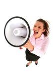 Donna di affari che grida tramite il megafono Immagini Stock Libere da Diritti