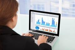 Donna di affari che guarda i grafici finanziari sul computer portatile Fotografia Stock