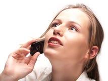 Donna di affari che ha conversazione di telefono Fotografie Stock