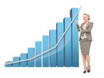 Donna di affari che indica al grande grafico 3d Fotografia Stock Libera da Diritti