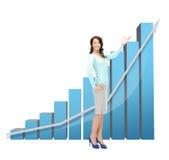 Donna di affari che indica al grande grafico 3d Immagine Stock Libera da Diritti