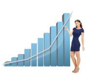 Donna di affari che indica al grande grafico 3d Immagini Stock Libere da Diritti