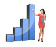Donna di affari che indica al grande grafico 3d Fotografie Stock Libere da Diritti