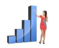 Donna di affari che indica al grande grafico 3d Immagine Stock