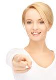 Donna di affari che indica il suo dito Fotografia Stock