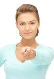 Donna di affari che indica il suo dito Immagini Stock Libere da Diritti