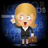 Donna di affari che indica la barra di ricerca sullo schermo virtuale Fotografia Stock