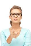 Donna di affari che indica la sua barretta Fotografie Stock