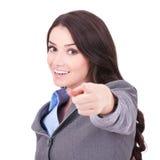 Donna di affari che indica la sua barretta Fotografie Stock Libere da Diritti