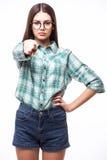 Donna di affari che indica la sua barretta Immagine Stock Libera da Diritti