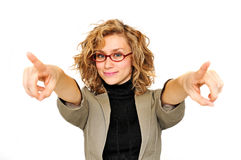 Donna di affari che indica le sue barrette Fotografia Stock Libera da Diritti