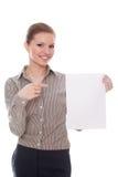 Donna di affari che indica mostrando tabellone per le affissioni vuoto Fotografia Stock