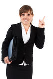 Donna di affari che indica in su Immagini Stock Libere da Diritti