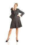 Donna di affari che indica voi Fotografia Stock