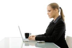 Donna di affari che lavora al calcolatore Immagini Stock Libere da Diritti