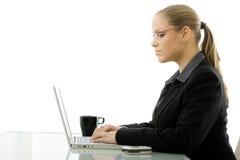 Donna di affari che lavora al calcolatore Fotografia Stock