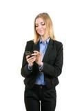 Donna di affari che lavora con il telefono Immagine Stock