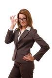 Donna di affari che lo esamina. Fotografie Stock