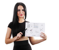 Donna di affari che mostra i rapporti finanziari, Immagini Stock Libere da Diritti