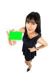 Donna di affari che mostra il segno della scheda in bianco Fotografie Stock Libere da Diritti