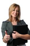 Donna di affari che mostra il Thunbs-Up Fotografia Stock Libera da Diritti