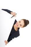 Donna di affari che mostra insegna in bianco Immagini Stock Libere da Diritti