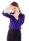 Donna di affari che mostra mano d'inquadramento fotografia stock