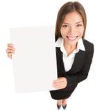 Donna di affari che mostra segno Immagine Stock Libera da Diritti