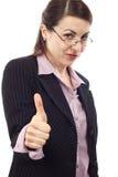 Donna di affari che mostra segno GIUSTO Immagine Stock